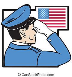saudando, bandeira americana, recruta