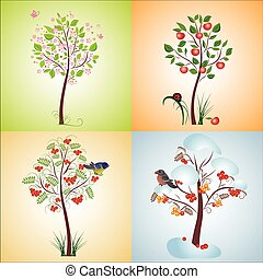 sazonal, árvore, seamless, illustratio