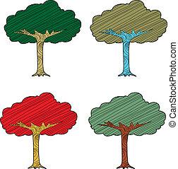 sazonal, abstratos, árvores