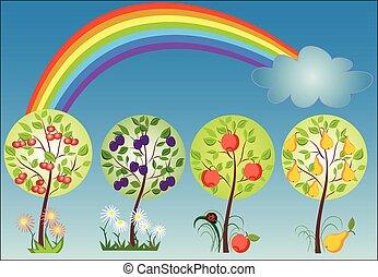 sazonal, arco íris, árvore