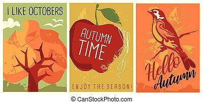 sazonal, cobrança, outono, cartazes, bandeiras, olá
