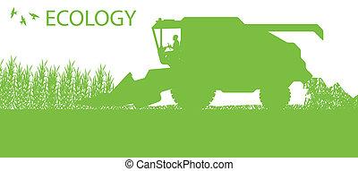 sazonal, conceito, harvester, ecologia, combinar, agrícola, agricultura, paisagem