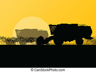 sazonal, harvester, cena, ilustração, campo, vetorial, grão, fundo, agrícola, combinar, agricultura, paisagem