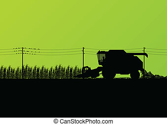 sazonal, harvester, cena, ilustração, vetorial, combinar, fundo, agrícola, agricultura, paisagem