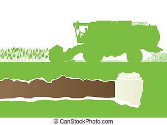 sazonal, harvester, l, campo, combinar, agrícola, grão, agricultura