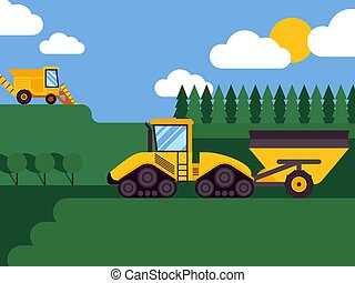 sazonal, industrial, fundo, harvester, fazenda, campos, veículos, cena, ilustração, equipamento, combinar, vector., agrícola, forests., combines., harvesting., agricultura, paisagem