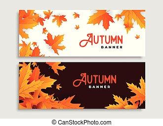 sazonal, jogo, licenças dois, outono, desenho, bandeiras