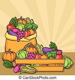 sazonal, legumes, colheita, ilustração, frutas