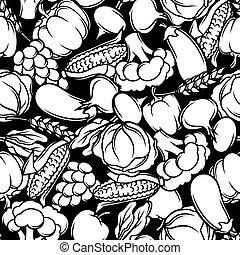 sazonal, legumes, pattern., seamless, ilustração, outono, frutas, colheita