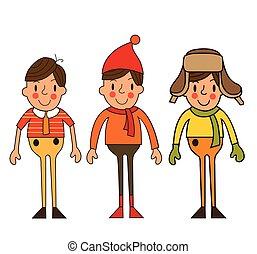 sazonal, menino, jogo, ilustração, vetorial, roupas