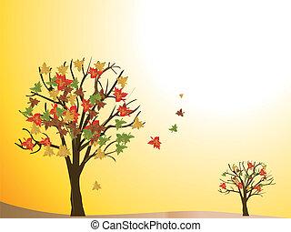 sazonal, outono, árvore