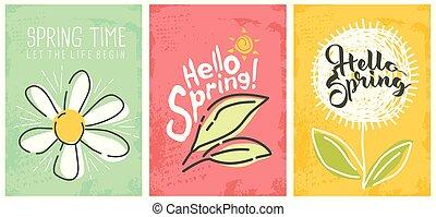 sazonal, primavera, bandeiras, olá, cobrança
