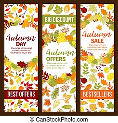 sazonal, promo, venda, outono, desconto, outono, bandeiras