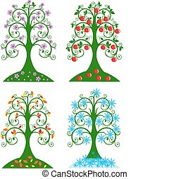 sazonal, quatro, árvore
