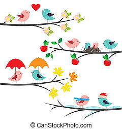sazonal, ramos, pássaros