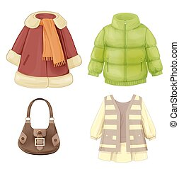 sazonal, vestido, jogo, agasalho, acolchoado, girls., parka, roupas