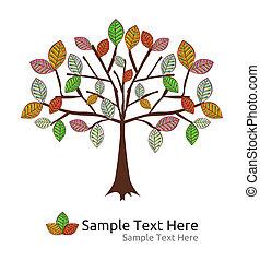sazonal, vetorial, outono, árvore
