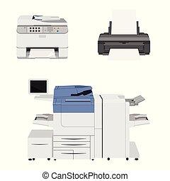 scanner., impressora, escritório, multifunction, máquina, impressoras, cópia