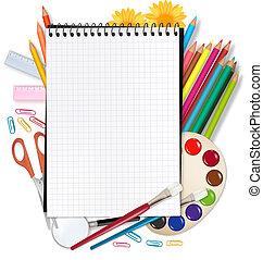 school., costas, escola, notepad