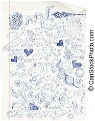 school., doodling