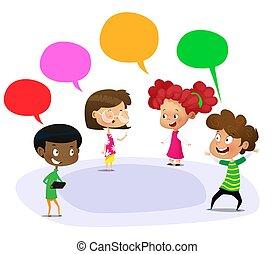 school., estudantes, falando, vetorial, ao ar livre, caricatura