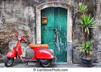 scooter, vermelho