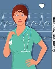 scr, ou, doutor, jovem, femininas, enfermeira