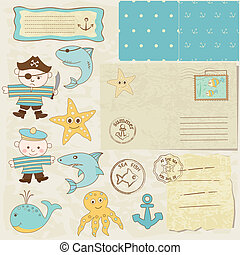 scrapbook, elementos, mar