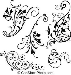 scrolls, floral