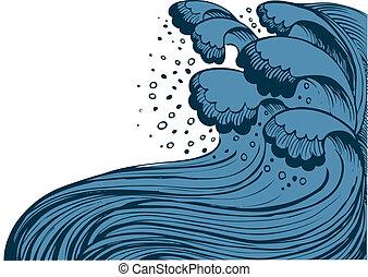 sea., experiência azul, ondas, vetorial, tempestade, grande, branca