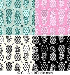 seamless, cobrança, padrões, vetorial, abacaxi, repetindo