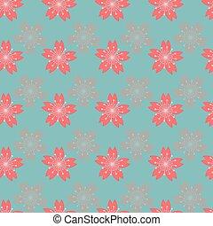 seamless, flor, abstratos, experiência., padrão, cereja, bonito