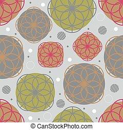 seamless, flor, confetti, padrão, fundo, cinzento, coloridos