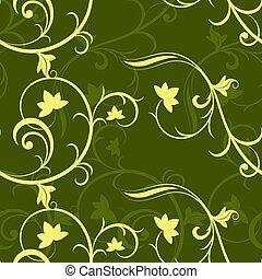seamless, floral, vetorial, verde, escuro, pattern.