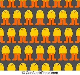 seamless., galinha, textura, estilo, padrão, pequeno, caricatura, experiência., pintainho bebê, tecido
