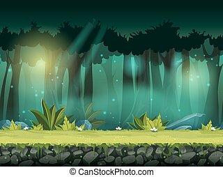 seamless, ilustração, mágico, vetorial, floresta, horizontais, névoa