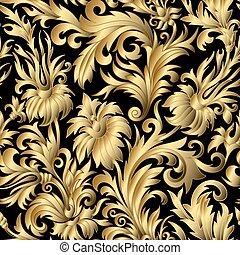 seamless., ouro, ornamentos, damasco