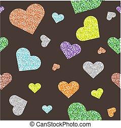 seamless, padrão coração, fundo, coloridos, brilhar