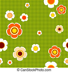 seamless, padrão, floral, verde