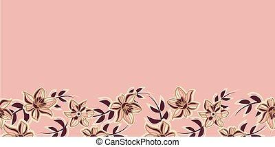 seamless, padrão, flores, cor-de-rosa, vetorial, borda, marrom