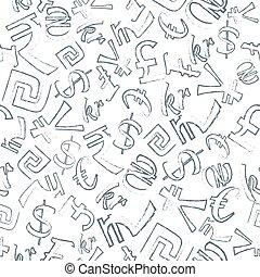 seamless, padrão, moedas correntes