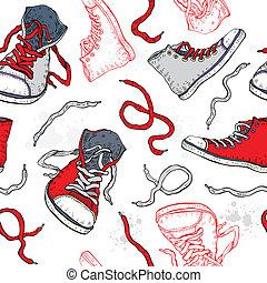 seamless, sneakers., pattern., sapatos