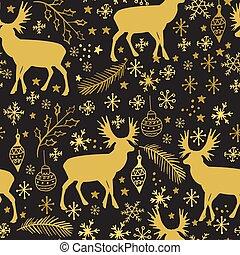 seamless, snowflakes, inverno, renas, padrão