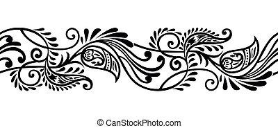 seamless, tribal, paisley, borda, desenho