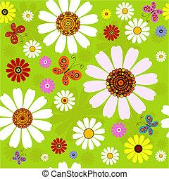 seamless, verão, padrão, floral