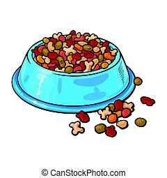 secos, alimento, animal estimação, tigela, pelleted, cão, gato, plástico, enchido