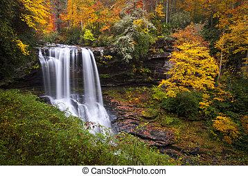 secos, azul, altiplanos, cume, montanhas, nc, quedas, floresta outono, foliage, cachoeiras, barranco, outono, cullasaja