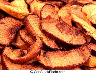 secos, maçã cortam fatias