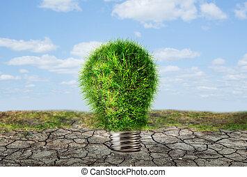 secos, solo, lâmpada, verde, bulbo