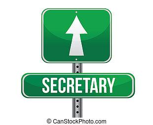 secretária, desenho, estrada, ilustração, sinal